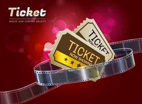 ticket movie cinema object vector illustration