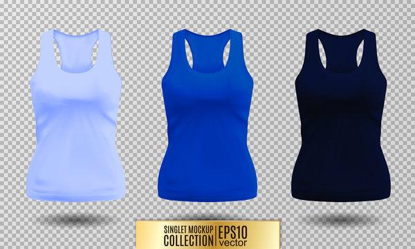 Blank sport tank top for women template set.
