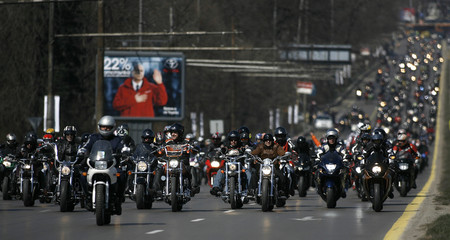 Bikers ride their motorcycles during the official Moto season 2009 opening in Sofia