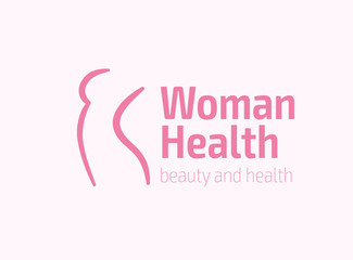Woman health figure symbol, spa and fitness logo