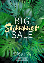 Sale vertical banner, poster with palm leaves, jungle leaf and handwriting lettering. Floral tropical summer background. Vector illustration EPS10