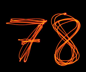 uppercase laser alphabet - capital number 7 and 8