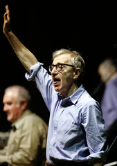 Woody Allen greets supporters during a concert in Oviedo northern Spain