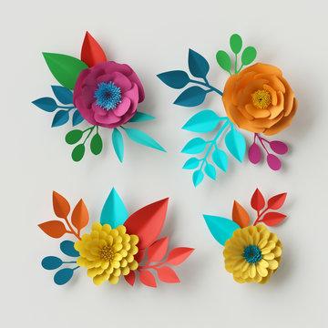 3d render, digital illustration, vivid paper flowers, decorative floral design elements, clip art set, festive decor, isolated on white background