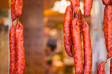 German Sausages Hanging Butcher Delicious Cultural Traditional Food Links