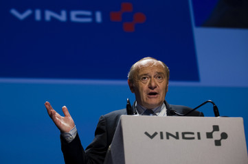 Yves-Thibault de Silguy, Chairman of Vinci, speaks during the company's annual shareholders meeting in Paris