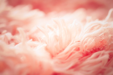 close up soft pink cotton carpet and abstract background