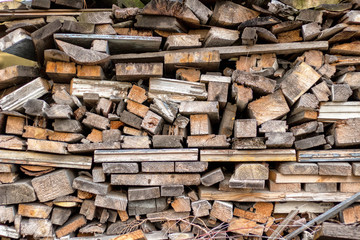 Wooden uneven beautiful woodpile recycling secondary use background