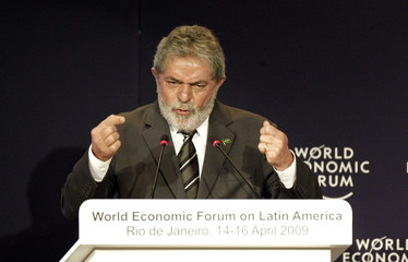 Brazil's President Lula da SIlva speaks during opening plenary of the  World Economic Forum on Latin America in Rio de Janeiro