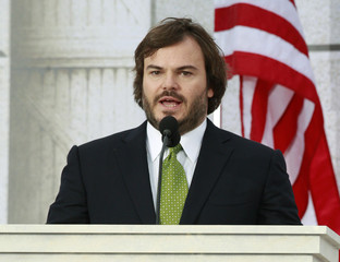 Actor Jack Black addresses the crowd during the We Are One - Inaugural Celebration at the Lincoln Memorial in Washington