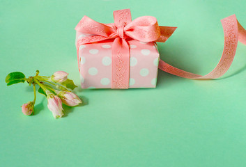 Beautiful wrapped gift box with spring blossoms