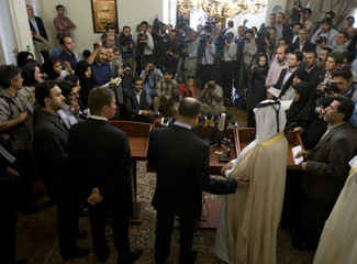 Iran's Oil Minister Nozari, Qatar's Energy Minister al-Attiyah and Gazprom CEO Miller attend news conference in Tehran