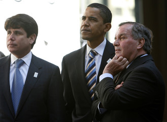 File photo of Illinois Governor Blagojevich Senator Obama and Chicago Mayor Daley watch video in Chicago