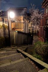 金沢の夜桜 主計町茶屋街 暗がり坂