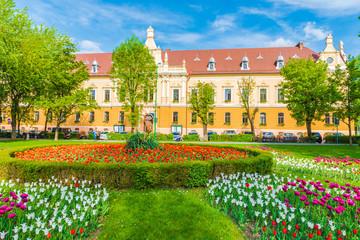 Wall Mural - Prefecture building and central park in Brasov, Transylvania, Romania