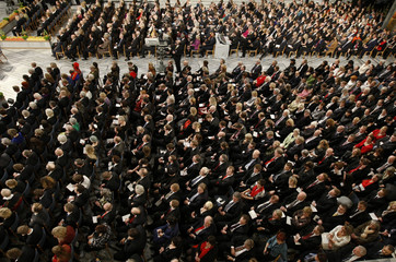 Attendees listen during the Nobel Peace Prize award ceremony at Oslo City Hall