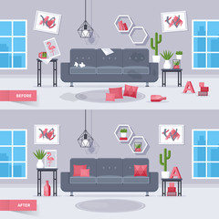 Living room before and after cleaning concept. Modern interior design. Isolated vector illustration