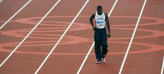 Justin Gatlin of the US concentrates before the final of the mens 100 metres in Athens.