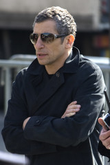 French television presenter Nagui arrives at the funeral services for French singer Alain Bashung at the Saint-Germain-des-Pres church in Paris