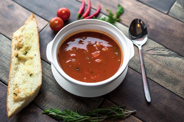 Delicious food, which is useful rustic wooden background