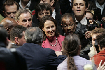 French Socialist Party presidential hopeful Segolene Royal arrives to attend a meeting in Paris