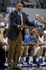 University of Kentucky head coach Tubby Smith reacts to his team's play against the University of Houston in Lexington
