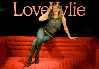 Australian singer and actress Minogue launches new collection of stockings for her underwear range in London.