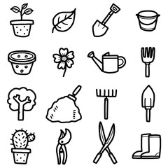 gardening objects, icons set / cartoon vector and illustration, hand drawn style, black and white, isolated on white background.