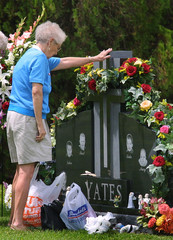ANDREA YATES MOTHER AT CHILDRENS GRAVE.