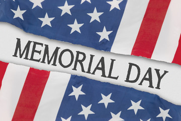 Two American flags with text of memorial day