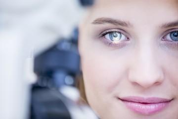 Eye examination of woman