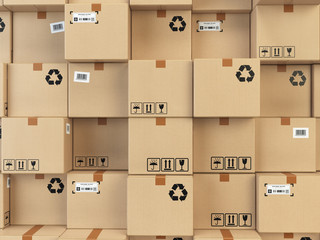 Cardboard boxes backgound. Delivery, cargo, logistic and transportation warehouse storage concept.