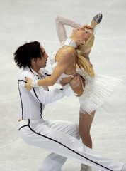 Grushina and Goncharov of Russia perform during European Figure Skating Championships in Lyon