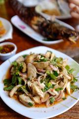Mushroom salad (or laap) in Chiang Mai, Thailand