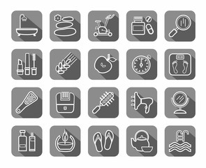 Beauty and health, icons, linear, gray, vector. Care for body and face. The white contour icons on gray background with shadow. Flat, vector clip art.