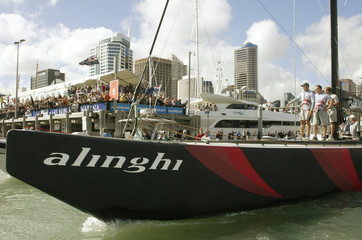 SWISS TEAM ALINGHI LEAVE VIADUCT HARBOUR TO CHALLENGE FOR AMERICA'S CUPIN AUCKLAND.