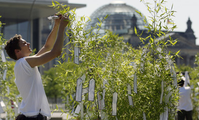 """Activist of movement """"Your Voice against Poverty"""" ties wish lists on bamboo trees in front of  Reichstag in Berlin"""