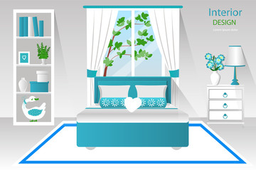 Bedroom interior vector illustration. Room in white and blue color furnished. Cartoon. The design of the room.