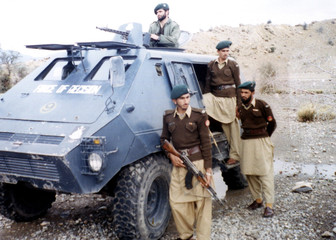 Pakistani para-military soldiers guard a street in Miranshah.