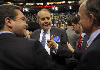 Former Republican presidential nominee Dole gives thumbs up to delegates during third session of 2008 Republican National Convention in St. Paul