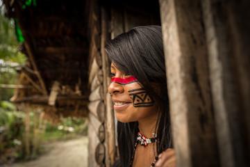 Brazilian Native Girl from Tupi Guarani Tribe, Brazil
