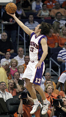 Suns guard Nash cores on a layup against the Lakers during NBA Western Conference playoff game in Phoenix