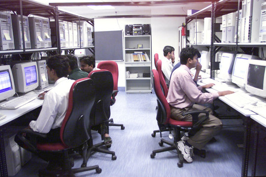 Software engineers work in the datacentre of Microsoft India (R&D) Pvt Ltd in Hyderabad. Microsoft h..
