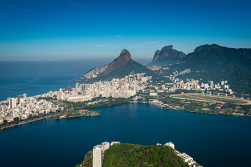 Rodrigo de Freitas Lagoon, Two Brothers and Pedra da Gavea Mountains, Ipanema and Leblon Aerial View, Rio de Janeiro, Brazil