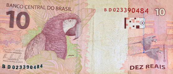 Brazilian currency ten reais (real) banknote