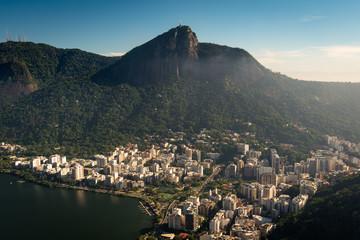 Aerial View of Rio de Janeiro Mountains With Corcovado, Lagoon, Lagoa and Humaita Neighborhoods