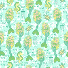 Seamless pattern with mermaids, seahorse, turtle, jellyfish and fish.