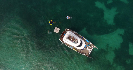 Top View of Yacht in a Paradise Island