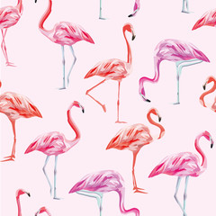 Photo on textile frame Flamingo Flamingo seamless pattern pink background