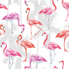 Pink flamingo seamless pattern white background with palm